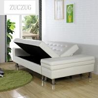 ZUCZUG日式简约多功能皮艺收纳小户型沙发可折叠沙发床两用客厅双人储物 定制其它颜色(全长2.15米 ) 1.5米-