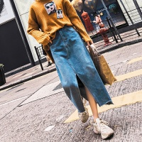 2018春韩版牛仔半身裙女中长款开叉高腰过膝裙子 蓝色