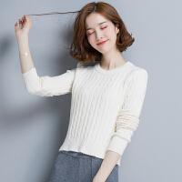 秋冬女士短款紧身毛衣女套头长袖低领修身显瘦高腰针织打底衫