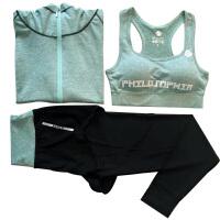秋冬季跑步衣服女三件套速干显瘦长袖健身房瑜伽服外套健身服套装 XX
