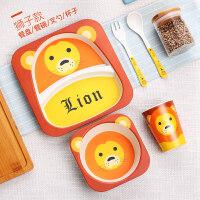 W 儿童餐盘卡通吃饭餐盘分隔格婴儿饭碗宝宝辅食碗叉勺子套装D13