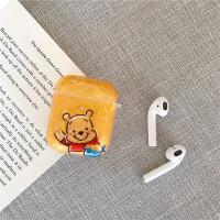 卡通可爱贝壳纹维尼熊苹果无线蓝牙AirPods1代耳机包个性防摔全包airpods2代耳机盒情侣女款