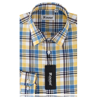 洛兹男正品秋季新款商务休闲全棉长袖格衬衫男士长袖衬衣LM14414-63