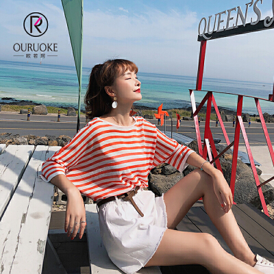 欧若珂 2018夏季韩版新款七分袖休闲宽松条纹T恤上衣女