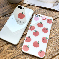夏日桃子苹果x手机壳iphone7plus玻璃个性创意女款8硅胶网红