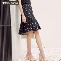 【5.16-5.17日抢购价:45】美特斯邦威半身裙女2019夏季新款超火cec裙子心形印花波点半身裙