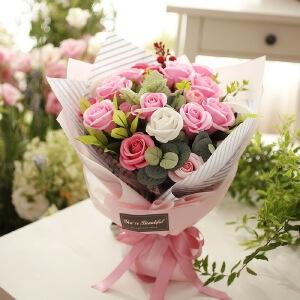 【特价品 礼品卡 满减】幸阁 香皂花 21朵玫瑰花束1542 包邮 永生花情人节圣诞节生日礼物送女友创意礼品