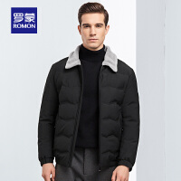 罗蒙男士短款羽绒服冬季新款中青年保暖上衣时尚休闲羊羔毛领外套