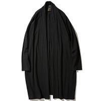 大码男装中国风长款风衣 中式胖子宽松棉麻开衫外套 加肥加大汉服 黑色 C01