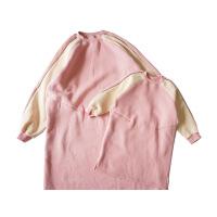 卫衣2018亲子装秋装粉色母女装休闲棉中长款加绒套头连衣裙女童 粉红色
