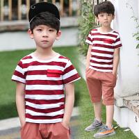 童装男童套装夏装新款儿童休闲中大童夏季短袖T恤韩版两件套
