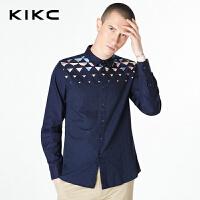 kikc衬衫男长袖2017秋季新款免烫碎花青少年韩版修身休闲衬衣男