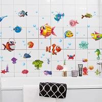墙纸海洋卫生间淋浴室墙壁瓷砖玻璃贴画防水装饰贴纸儿童房卡通海洋鱼墙贴