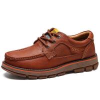 男鞋休闲皮鞋真皮牛皮大头鞋户外工装厚底增高鞋牛筋底
