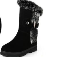 冬季雪地靴女中筒靴加厚保暖女靴平底真皮短中跟防滑厚底大�a棉鞋�底 黑色加厚�q毛