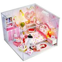 �e墅模型仿真迷你小房子小屋手工制作 公主娃娃屋�和��^家家玩具
