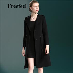 Freefeel2017秋冬新款女装羊绒大衣中长款双面绒连帽细带修身上衣外套1868