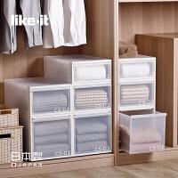 like-it日本进口塑料抽屉式收纳箱可叠加衣柜收纳盒整理箱储物箱