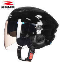 摩托车头盔半覆式男女士四季电动车夏季防晒轻便式半盔 (125FC双镜片) 均码