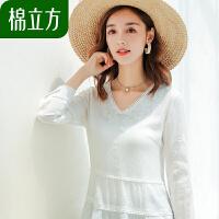 白色宽松甜美绣花丝麻感上衣女春装2019新款棉立方气质女士雪纺衫