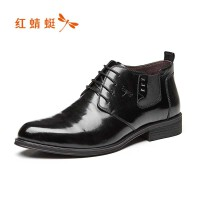 【领�幌碌チ⒓�120】红蜻蜓男鞋秋冬新款商务正装高帮休闲系带男单鞋正品皮鞋