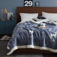 北欧双层毛毯羊羔绒加厚珊瑚绒毯子法兰绒盖毯被子冬季保暖床单人