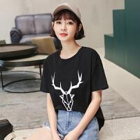 【1件3折:43元】韩都衣舍2019夏装新款女装韩版印花学生宽松短袖潮T恤RW8591�S