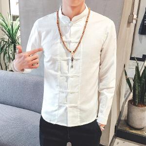男装夏季中国风衬衫棉麻男士修身休闲寸衫亚麻长袖衬衣潮1-6