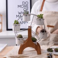 简约白色套装多肉植物组合盆栽摩天轮花盆zakka陶瓷花盆 摩天轮(盆器+竹架+金属架子,不含植物) 1套