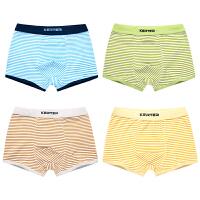 男童内裤纯棉平角裤中大童底裤小孩男孩岁短裤头儿童 蓝+绿+黄+棕/四条