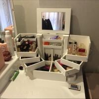 20180430202751381大号桌面化妆品收纳盒带镜子 木制有盖防尘护肤品收纳盒化妆柜 原白色 内PU漆 现货