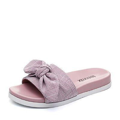 Teenmix/天美意2018夏纺织品时尚格纹蝴蝶结平跟女拖鞋J1653BT8