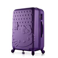 卡通行李箱女行李箱万向轮儿童旅行箱20寸24寸28寸26密码箱皮箱包 纯边#水晶紫 单箱 20寸 登机