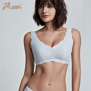 顶瓜瓜文胸女V型纯色光面美背胸罩运动氧护三排扣女士内衣2018春夏新款