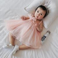 婴儿衣服新生儿夏季裙子网纱花朵吊带网纱公主宝宝连衣裙夏装