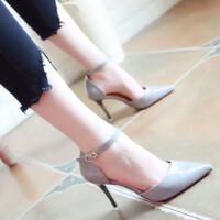 欧美性感高跟鞋2018春季新款细跟尖头浅口漆皮女鞋一字扣显瘦单鞋