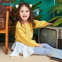 巴拉旗下MarColor马卡乐2019春新品女童针织拼接长袖连衣裙