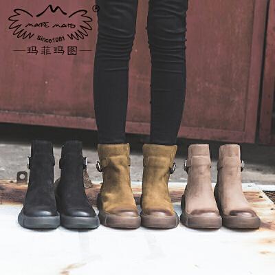 玛菲玛图复古皮带扣马丁靴女秋冬女鞋2017新款短靴女平底真皮圆头切尔西靴006-2尾品汇 付款后3-5个工作日发货