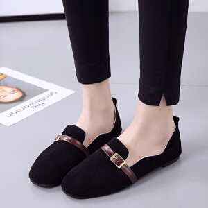 【包邮】2017秋季新款单鞋女粗跟方扣复古方头中跟单鞋英伦风女鞋小皮鞋子70mm