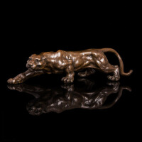 家居装饰品豹子摆件工艺品雕塑铜摆设汽车装饰摆件