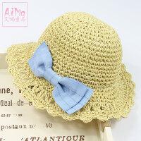 儿童草帽可折叠太阳遮阳帽子女童帽子宝宝草帽沙滩婴儿帽女出游帽5968 均码 52CM约3~4岁