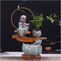 陶瓷流水摆件办公室桌面喷泉客厅轮加湿器鱼缸小礼品禅意