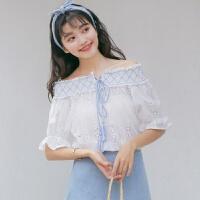 2018夏季新款甜美漏肩小清新一字领短袖系带上衣女衬衫蕾丝雪纺衫