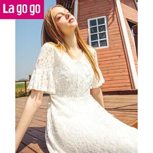 Lagogo/拉谷谷2018年夏季新款时尚蕾丝花边短袖连衣裙HALL393C29