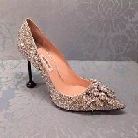 手工2018春季新款欧美水钻尖头鞋亮片细跟高跟单鞋银色新娘婚鞋女