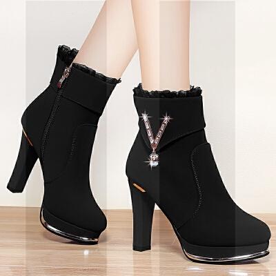 真皮粗跟高跟鞋女马丁靴厚底加绒细跟短靴中跟单鞋女皮鞋子秋冬天SN0967 黑 880加绒