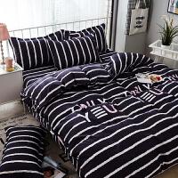 韩式1.5米ins床上用品四件套全棉纯棉1.8m被套床单双人宿舍三件套 黑白色 爱神