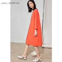 [AMII东方极简] JII AMII2018春装新款女装宽松文艺大码纯棉长裙九分袖连衣裙