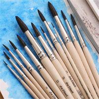德国达芬奇水彩笔 达芬奇画笔 混合动物毛 圆头水彩画笔原木杆
