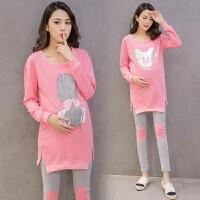 孕妇托腹裤秋冬款两件套孕妇套装秋装新款韩版粉色
